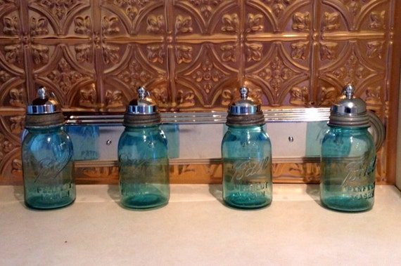 Ball Jar Vanity Lights : Vanity Light Fixture made with Quart size Ball by JunkyardJems