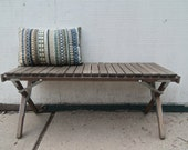 Rustic Vintage Industrial Teak Wood Slat Bench--Coffee Table
