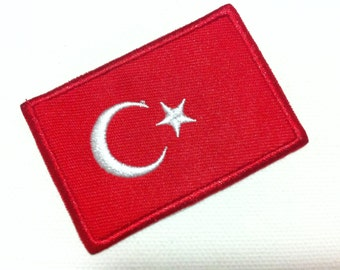 Turkey  Flag World Flag Patch (6 x 4 cm) Embroidered Applique Iron on Punk Patch (FL)