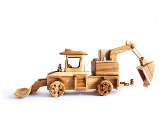 Wooden Toy Backhoe Loader 02 in Handmade