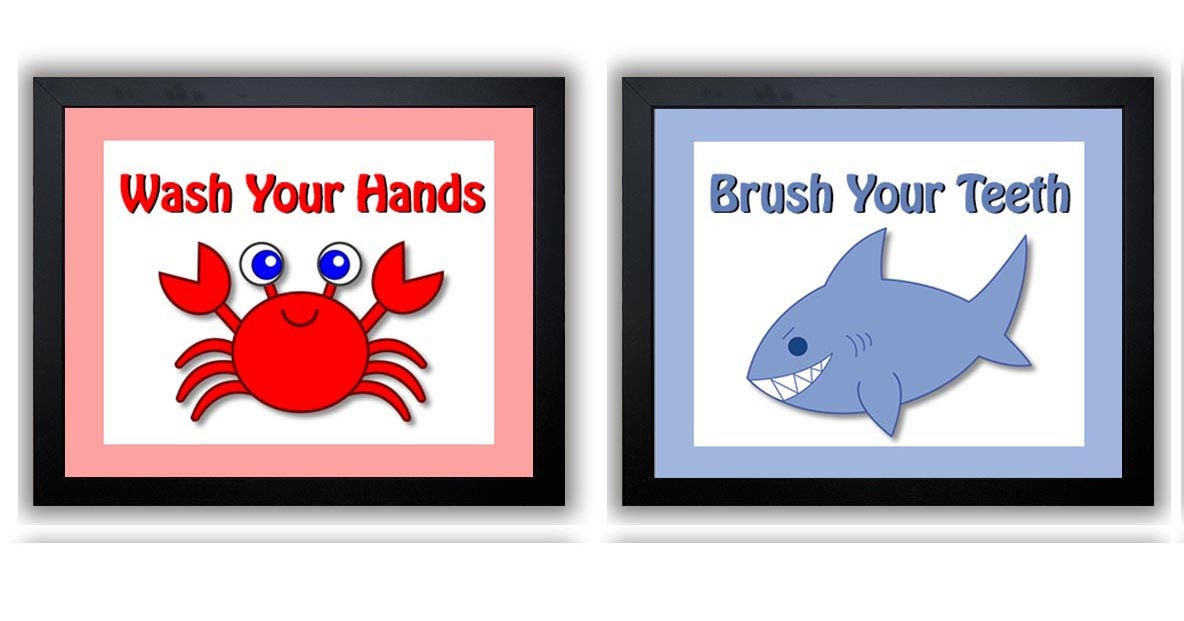 Crab Shark Kids Bathroom Art Child Print Set of 2 Wash Your Hands Brush Your Theeth Wall Decor Baby