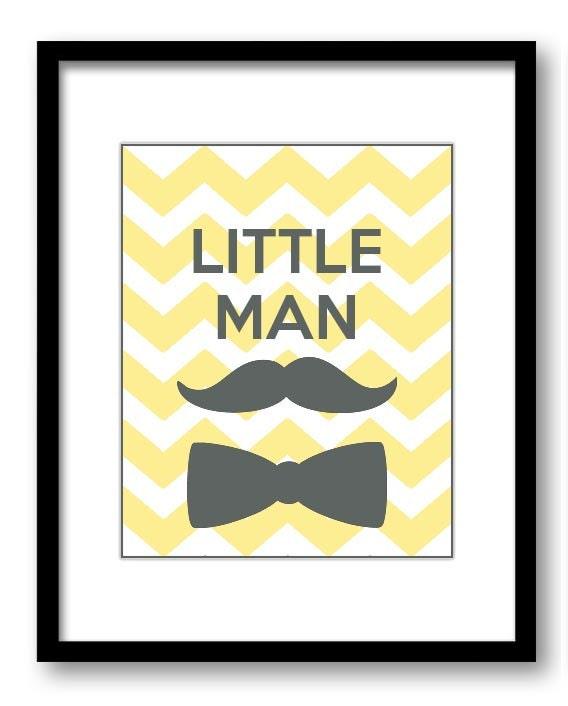 Yellow Grey Little Man Nursery Art Nursery Print Mustache Bowtie Child Baby Art Print Boys Kids Room