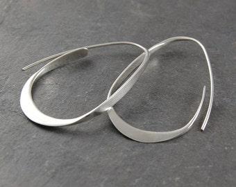 Silver Hoop Earrings, Hoops, 925 Silver Earrings, Statement Earrings, Modern Earrings, Drop Hoop Earrings, Minimal Earrings, Unusual Hoops