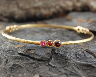 Garnet Bracelet, Garnet Bangle, Gemstone Bracelet, Gemstone Bangle, Ruby Bracelet, Boho Bracelet, Gold Gemstone Bangle, January Birthstone