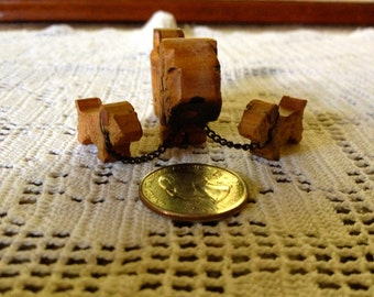 Vintage Hand Carved Wooden Scotty Dog Family