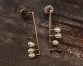 tiny white freshwater pearl  - sterling silver - studs