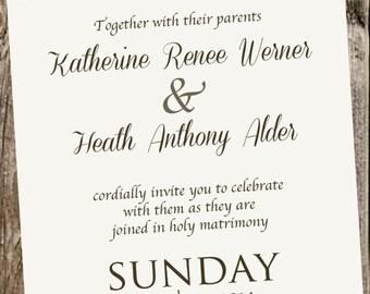 Ivory Linen Casual Wedding Invitation (typography)