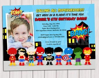 Super Hero Birthday Party Photo Invitation,  Pop Art Superhero Photo Invitation, Invite Card, Comics Pop art, Personalized Printable pdf