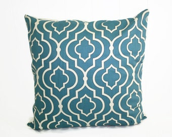 Decorative Millcreek Blue/Teal and Cream Pillow Cover 12x16, 16x16, 18x18