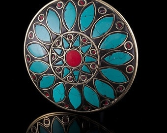 Brass & Turquoise Stone Mosaic Mandala Pendant