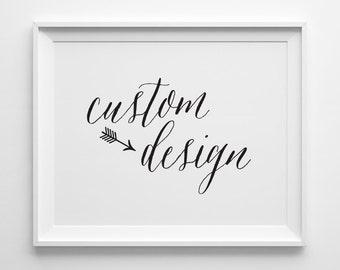 Custom Typography Print Design, Custom Design by Sweet Peony Press, Custom Print