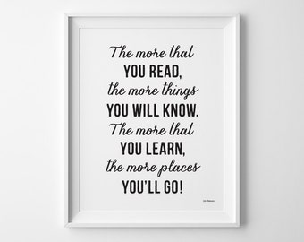 , Dr Se uss Quote Back to School Kids Wall Art, First Day of School ...