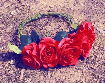wedding flower crown, bridal veil, rose flower crown, headband, hair accessories, hand made