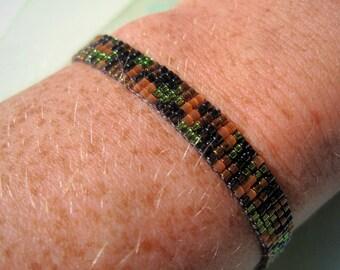 Supernatural Dean inspired bracelet - Miyuki bead bracelet with gunmetal grey, green, brass and topaz camo design
