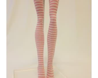 Dolls stockings/socks for Monster high doll -Pink White Stripes #No.654