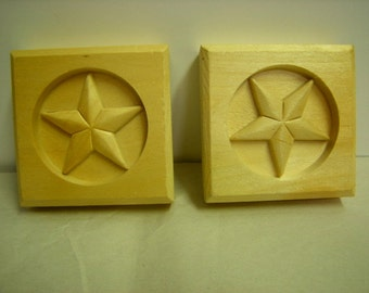 2 rosettes-door corners-western decor-wood-unfinished- Texas star-
