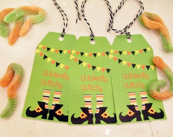 10 halloween witch shoes treat bag tags wickedly witchy goodie bag tags halloween party