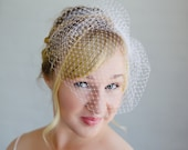Wedding Veil, Birdcage Veil, Bridal, Ivory, White, Blush Wedding Veil, Short Veil, Russian Fascinator Veil, Wedding Hair Accessory, April