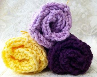 SET OF 3 Cotton Handmade Washcloths
