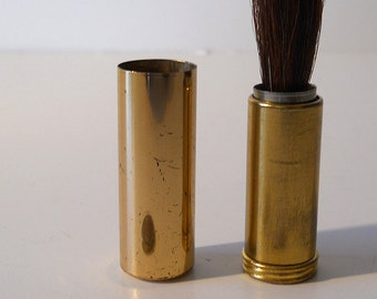 Vintage ladies make up cosmetic brush, twist up lipstick size, fine brush, 1950's to 60's, gold tone canister