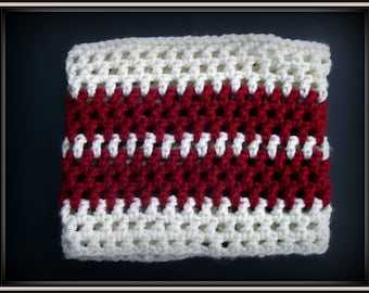 Crochet Infinity Cowl, Maroon and Cream Cowl, Neckwarmer