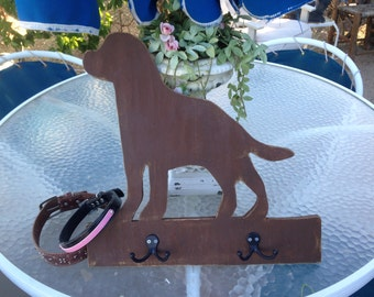 Labrador Wood chocolate lab Leash holder, Wood Labrador Retriever, leash collar holder, distressed, pet gift, Organizer