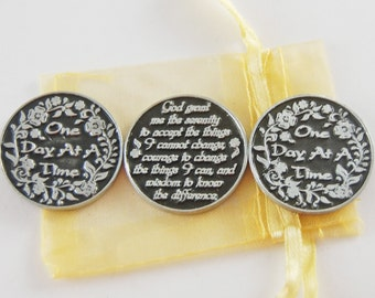 Set of 3 One Day at a Time/ Serenity Prayer Pocket Tokens with Organza Bag