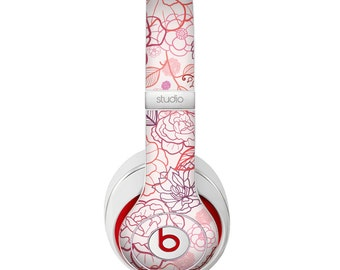 The Subtle Pink Floral Illustration Skin for the Beats by Dre Headphones (All Versions Available)
