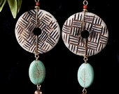 Carved Bone,Turquoise Ovals with Drops