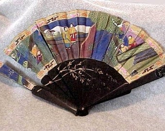 Antique Japanese HAND FAN Hand Painted Faces and Embroidered  Figures on MOP Carved End Blade Needs Repair