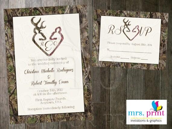 Items similar to Camo Deer Hearts Wedding Invitation and ...