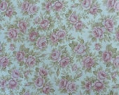 "Cotton Fabric, Quilt, Home Decor,Shabby Chic, Kaufman , ""Pristine"" #11454, Medium Pink Roses, Fast Shipping"
