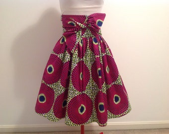 Melody: African Print High Waist Gathered Skirt