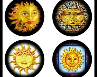 Digital Download Sheets - Sunny Faces - Face Art - Shaded Circle Designs - Bottlecaps - 25mm Pendants - Suns - DDP428/429