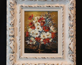 Original Floral Oil Painting with Ornate Frame Impressionism Quality Art Investment