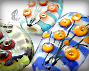 Choose Your Own Color Scheme Lampwork Focal  Bead, Flower Stripes, Flameworked, Handmade , OOAK