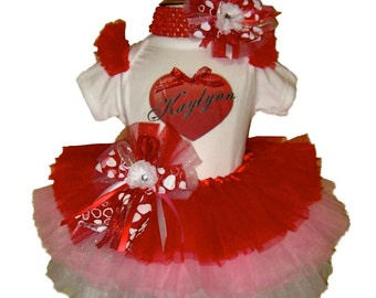 Valentines Day Tutu Set . Valentine Heart Tutu Set