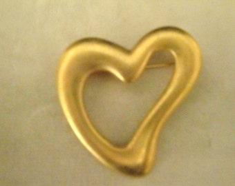 Goldtone Heart Brooch