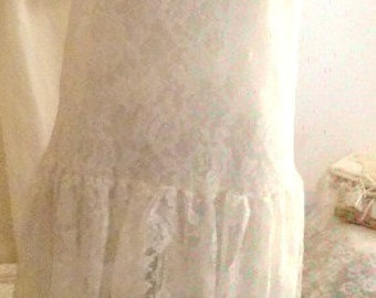 Vintage 1980's Sheer White Lace Slip Dress