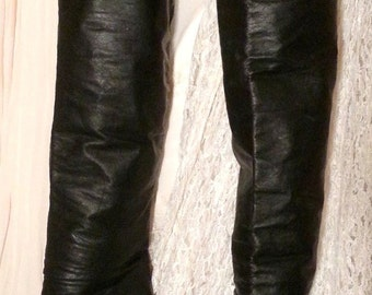 Thigh High Black Leather Stiletto Boots