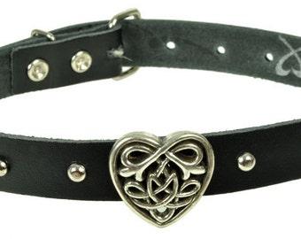 """Lederhalsband/Choker """"CELTIC HEART"""", Leder, leather, Halsband, Schwarz, black, Herz, heart, Niete, rivet, Silber, silver, keltisch"""