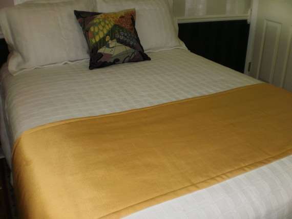 saffron yellow quilted hotel style bed scarf runner. Black Bedroom Furniture Sets. Home Design Ideas
