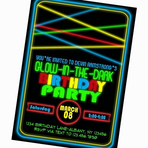 Glow In The Dark Birthday Party Invitation Birthday