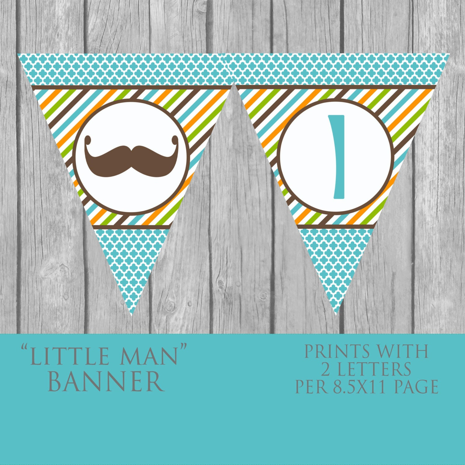 DIY Mustache Baby Shower Banner INSTANT By BlueFenceDesigns