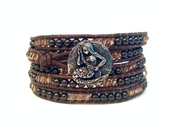 Mermaid Pewter Button 5x Beaded Wrap Bracelet w/ Swarovski Pearls and Crystals