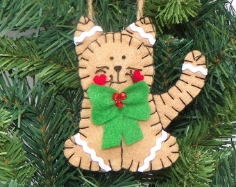 Felt Gingerbread Kitty Cat Christmas Ornament