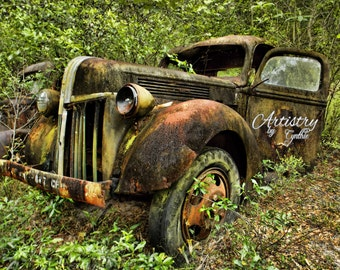 Car Photography, Vintage Car photography, Ford, Vintage Car photo, Rusty, Garage Art, Rusted Car, Rustic Wall Art