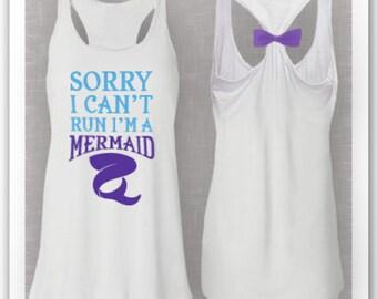 Sorry I Can't Run I'm a Mermaid Racerback Bow Tank