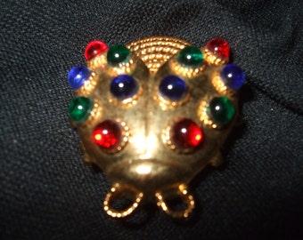 Vintage Pendant Brooch, Multicolored Goldtone Ladybug Pin Pendant