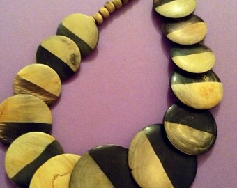 Vintage 1980s African Graduated Bicolored Wooden Disc Necklace - Tribal Necklace